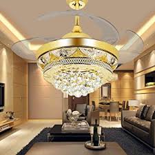 ceiling fans with lights for living room. COLORLED Modern Crystal Gold Ceiling Fan Light Kit For Living Room Bedroom 42-Inch Four Fans With Lights L