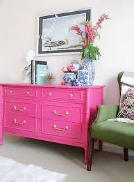 pink painted furniture. Bright Pink And Gold Dresser. One Room Challenge: Guest // REVEAL -  Style Your Senses Painted Furniture K