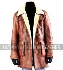 tom hardy sheepskin bane dark knight rises shear ling brown leather pea coat
