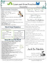 Learn and Grow Designs Website: March Preschool Newsletter ...