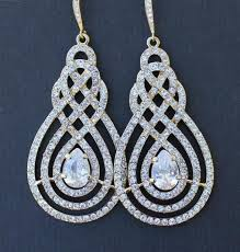 gold crystal pave swirl bridal chandelier earrings vintage art deco bridal jewelry wedding jewelry lilian 2275128 weddbook