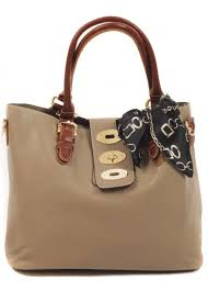 er soft taupe tote with scarf detail