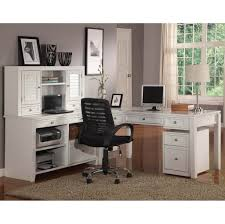 astounding l shaped white desk with hutch for home office with black rolling chair white