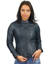 leather las coat blue round collar 315 model4