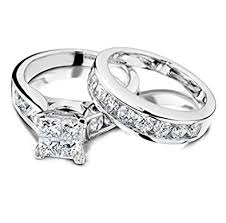 amazon com princess cut diamond engagement ring and wedding band