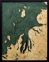 Lake Michigan Nautical Chart Northwest Michigan 3 D Nautical Wood Chart 24 5 X 31 Dark Frame