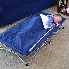 Regalo My Cot Deluxe Portable Kids Toddler Bed Sleeping Bag Camping Folding  Navy