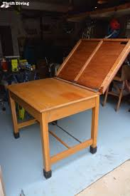 old furniture makeover. Strip Furniture: Turn An Old Thrifted Drafting Table Into Natural Blonde Oak DIY Garage Workstation Furniture Makeover