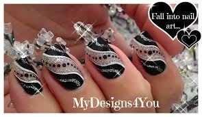 Easy Party Nail Art | Black And Silver Glitter Nails ♥ Diseño de ...
