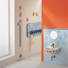Kids Bedroom Mirror Bathroom Yellow Wall Double Mirror Blue Cabinet Decorating For