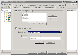 setting index php as default doent for iis