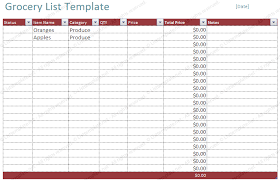 Template For Shopping List Free Blank Grocery List Template List Templates