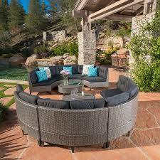 outdoor wicker patio furniture. Amazon.com: Currituck Outdoor Wicker Patio Furniture 10 Piece Black Circular Sofa Set With Water Resistant Cushions: Kitchen \u0026 Dining
