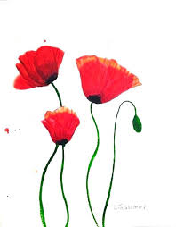 poppy wall art red metal set of 3 canvas
