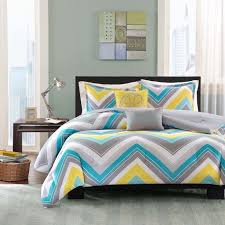 blue and yellow chevron bedding
