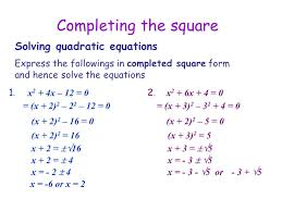 1 completing the square solving quadratic