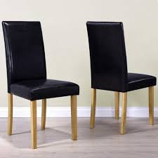New Haven Pair Of Modern Faux Leather Dining Chairs Black Within Chair Prepare 7 Rice Furniture Hilton In 10