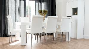 8 seater white dining table and white leather dining chairs on real leather dining
