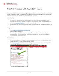 www access desire2learn login