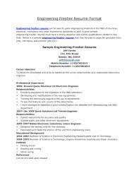 Sample Resume For Mechanical Engineer Fresher Mechanical Fresher Resume Format Elegant Resume Format Mechanical 6