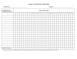 Daily Attendance Record Template Staff Daily Attendance Sheet Free