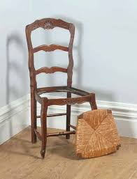 louis xv chair antique set of french xv style oak ladder back rush seat kitchen dining