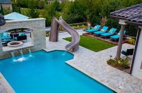 Impressive Pool Designs With Slides And Waterfalls Living Area Ideas