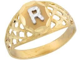 R Letter Ring Designs Two Tone Gold Diamond Cut Filigree Design Letter R Initial Ring Jl 5565