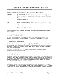 contract between 2 companies agreement between carrier and shipper template word pdf by