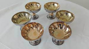 cups for champagne fruit salad ice cream vintage in silver gold