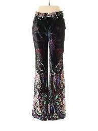 Ebay Pants Size Chart Details About Nwt Roberto Cavalli Women Black Velour Pants 40 Italian