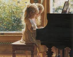 sisters at the piano painting