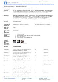 Manual Handling Risk Assessment Template Use This Template