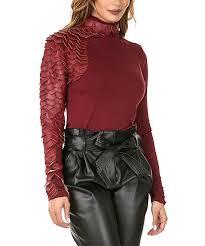 womens marsala marsala faux leather scale turtleneck alternate image 3