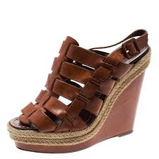 louboutin brown leather caged espadrille wedge sandals size 37 nextprev prevnext