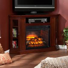 boston loft furnishings 48 in w cherry mdf infrared quartz electric fireplace with thermostat and