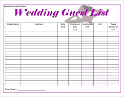 Blank Wedding Planning Checklist Wedding Planning Guest List Template Template For Resume Download