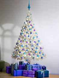 White & Blue Christmas Tree Decoration For The Best Look For Your White  Christmas Tree At Christmas Day / Seasonal Snowy And Clean White Chr.