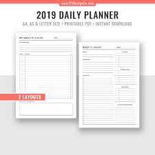 Daily Planner Template 2020 Daily Planner Printable 2019 2020 Daily Agenda Daily Organizer Planner Inserts Planner Pages Best Planner Filofax A5 A4 Letter Size