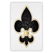 bathroom bath rug kitchen floor mat carpet fleur de lis decor royal legend lily throne of france empire family insignia of knights image black gold white