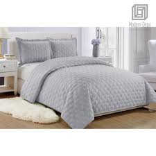 Light Gray Bedspread Details About Microfiber Reversible Quilt Set With Shams 3pcs Full Queen King Size All Season