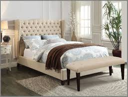 charming Platform California King Bed Frame With Tufted Headboard ...
