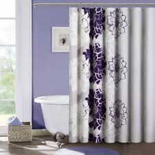 bathroom, Gorgeous Purple Wall Paint Color For Bathroom Design With Cute  Floral Accents Curtain Pattern
