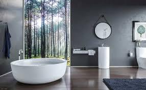luxury modern bathrooms round light recessed ceiling lamp white stand alone sinks having dark brown finish varnished wooden storage cupboard light wooden