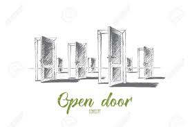 vector vector hand drawn open doors concept sketch many open doors meaning problem of right choice and new opportunities lettering open door concept