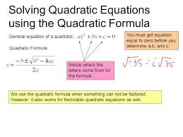 solving quadratic equations using the quadratic formula