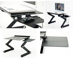 com wetno adjule vented laptop table laptop computer desk portable bed tray book stand multifuctional ergonomics design dual layer tabletop