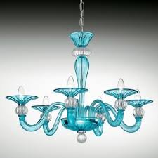 ermione murano glass chandelier 6 lights light blue and transpa