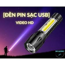 Đèn pin siêu sáng LED- sạc USB- nhỏ siêu sáng mini [No Worry]-Zoom. Led  chớp nhiều chế độ. Full hộp nhựa. 2 trong 1 sac.