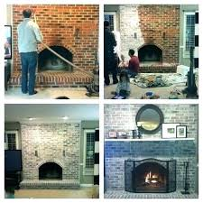 how to whitewash bricks using natural paint that lets the breathe white wash fireplace before and